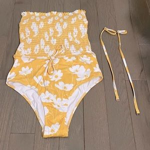NWOT Pink Lily Yellow One Piece